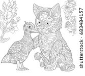 coloring page. cat and duck... | Shutterstock .eps vector #683484157