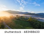 beautiful misty morning with... | Shutterstock . vector #683488633