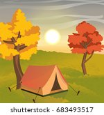 a bright red tent for tourism... | Shutterstock .eps vector #683493517