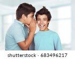 portrait of a two happy boys... | Shutterstock . vector #683496217