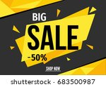big  sale banner on yellow... | Shutterstock .eps vector #683500987