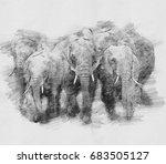 elephant. black and white... | Shutterstock . vector #683505127