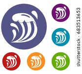 wave icons set | Shutterstock .eps vector #683513653