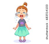 cute crybaby girl stands and... | Shutterstock .eps vector #683514103