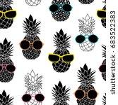 vector pineapples wearing... | Shutterstock .eps vector #683522383