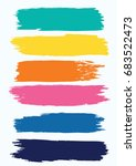 set   watercolor brush strokes... | Shutterstock .eps vector #683522473