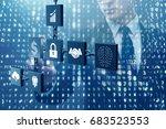 businessman in blockchain...   Shutterstock . vector #683523553