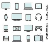 modern digital devices and... | Shutterstock . vector #683524033
