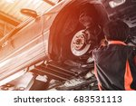 car lifted in automobile... | Shutterstock . vector #683531113