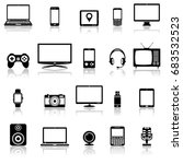 modern digital devices and... | Shutterstock . vector #683532523