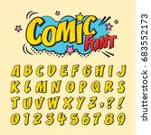 Comic retro font set. Alphabet letters & number in style of comics, pop art for title, headline, poster, comics, or banner design. Cartoon typography collection. | Shutterstock vector #683552173