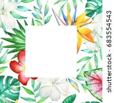 card template with watercolor...   Shutterstock . vector #683554543