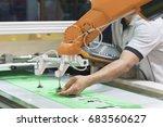 the technician operator adjust... | Shutterstock . vector #683560627