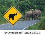 warning for elephants  yellow...   Shutterstock . vector #683562133