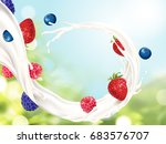 flowing milk with fruits ... | Shutterstock .eps vector #683576707
