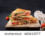 club sandwich panini with ham ... | Shutterstock . vector #683613577