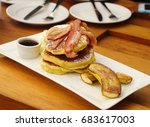 grilled bacon on the layer of... | Shutterstock . vector #683617003