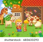 Stock vector the girl pities the rabbit on the farm with the animals vector illustration in cartoon style with 683633293