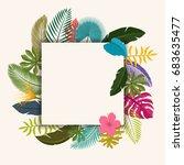tropical leaves floral vintage... | Shutterstock .eps vector #683635477