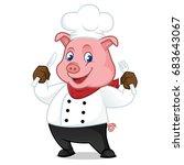 chef pig cartoon mascot holding ...