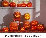 halloween pumpkins on... | Shutterstock . vector #683645287