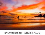 sunset on the tropical beach of ... | Shutterstock . vector #683647177