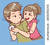 curious girl | Shutterstock .eps vector #683650243