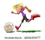 football player hits the ball   Shutterstock .eps vector #683650477
