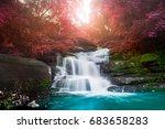amazing beautiful waterfall in... | Shutterstock . vector #683658283