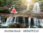 young man meditating and relax... | Shutterstock . vector #683659213
