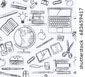back to school seamless vector... | Shutterstock .eps vector #683659417