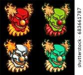 vector illustration set of evil ... | Shutterstock .eps vector #683661787