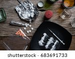 alcohol  drugs  pills on a... | Shutterstock . vector #683691733