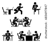 stick figure office poses set.... | Shutterstock . vector #683697847