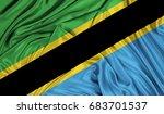 3d flag of tanzania silk texture | Shutterstock . vector #683701537