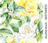 wildflower rose flower pattern... | Shutterstock . vector #683706853