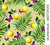 tropical seamless vector... | Shutterstock .eps vector #683715253