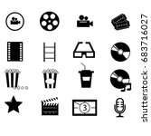 cinema vector icon set | Shutterstock .eps vector #683716027