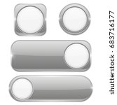 gray glass buttons with white... | Shutterstock .eps vector #683716177