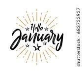 hello january   firework  ...   Shutterstock .eps vector #683722927