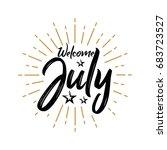 welcome july   firework  ...   Shutterstock .eps vector #683723527