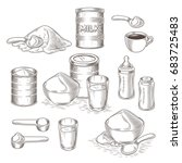vector set of engraving... | Shutterstock .eps vector #683725483