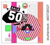 summer sale memphis style web... | Shutterstock .eps vector #683728327