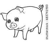 cartoon cute pig coloring page... | Shutterstock .eps vector #683741983
