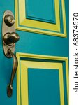 Turquoise Colored Door With...