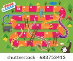 snake and ladder boardgame is... | Shutterstock .eps vector #683753413