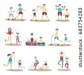 parents and children together... | Shutterstock .eps vector #683754283
