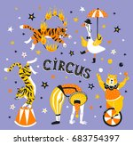 bright circus poster design... | Shutterstock .eps vector #683754397