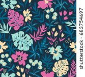 seamless pattern with wild... | Shutterstock .eps vector #683754697