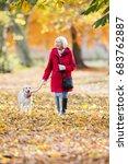 Stock photo senior woman is enjoying an autumn walk with her pet dog 683762887